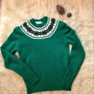 Vintage Braemar 100% Scottish Wool Green Sweater